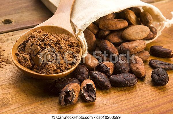 kasownik, drewniany, kakao, fasola, stół, (cacao) - csp10208599