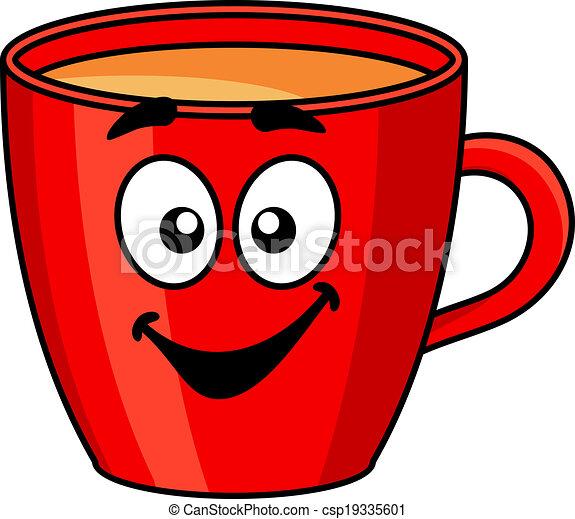 kawa, czerwony, kubek, barwny, rysunek - csp19335601