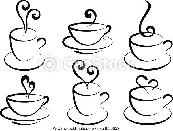 kawa herbaty, wektor, filiżanki - csp4656659
