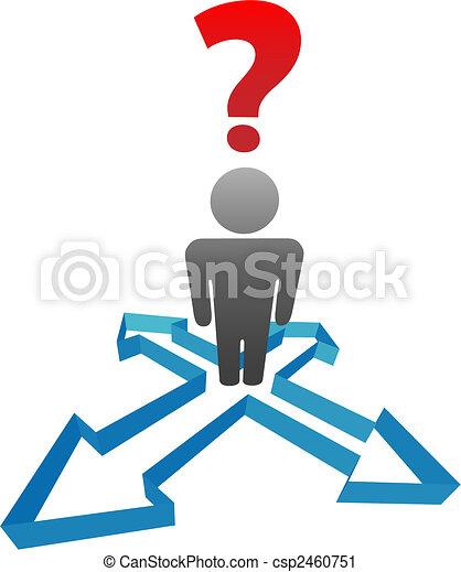 kierunek, strzały, decyzja, pytanie, osoba, niezdecydowany - csp2460751