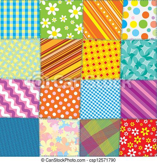 kołdra, patchwork, próbka, seamless, wektor, texture. - csp12571790