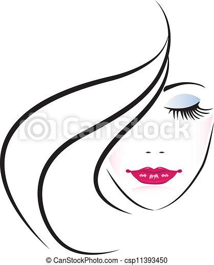 kobieta, ładny, twarz, sylwetka - csp11393450