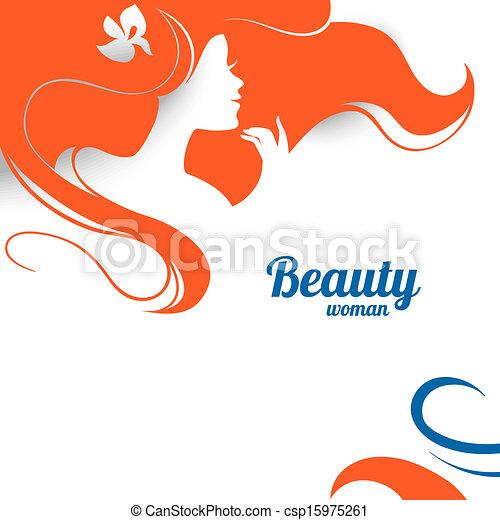 kobieta, fason, papier, projektować, silhouette., piękny - csp15975261
