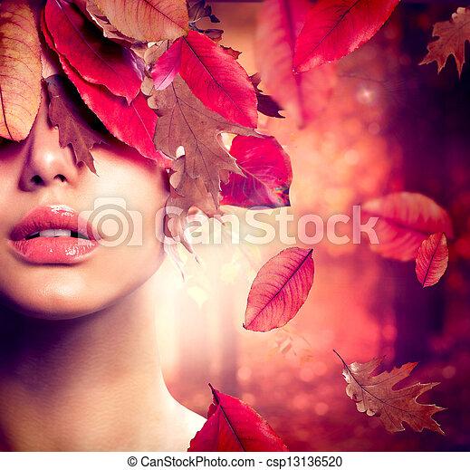 kobieta, fason, portrait., upadek, jesień - csp13136520