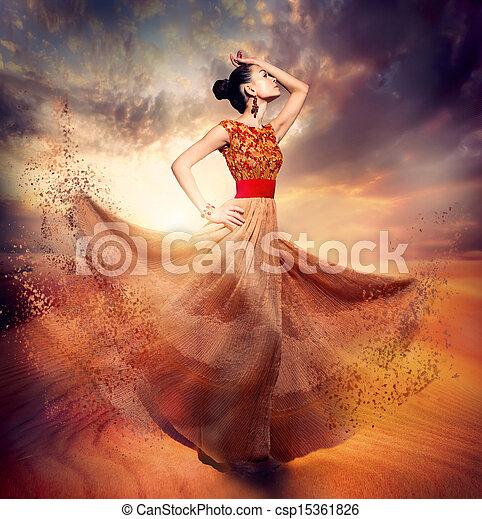 kobieta, fason, taniec, chodząc, podmuchowy, szyfon, długi, strój - csp15361826