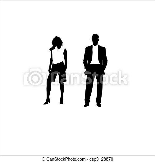 kobieta, garnitur, człowiek, wektor, tło., biały - csp3128870