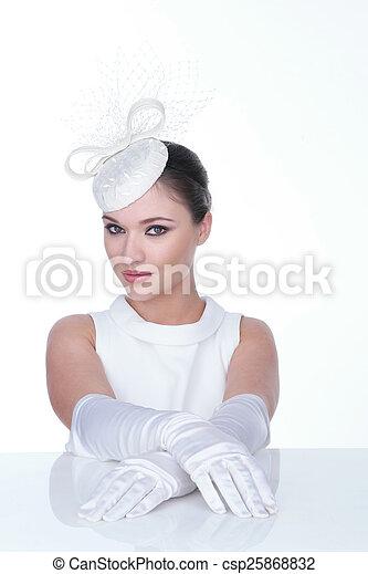 kobieta, glowes, elegancki, tajemniczy, biały kapelusz - csp25868832