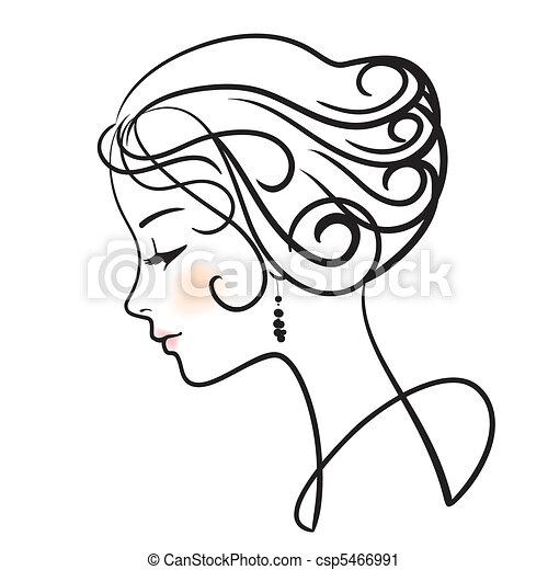 kobieta, ilustracja, twarz, wektor, piękny - csp5466991