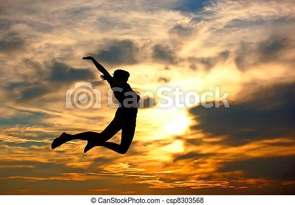 kobieta, miłość, jej, pokaz, world!, szczęście - csp8303568