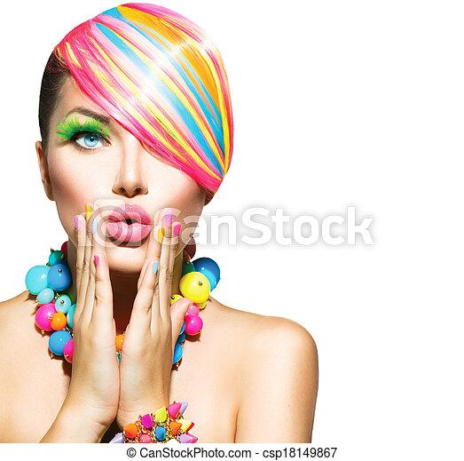 kobieta, piękno, barwny, paznokcie, makijaż, przybory, włosy - csp18149867