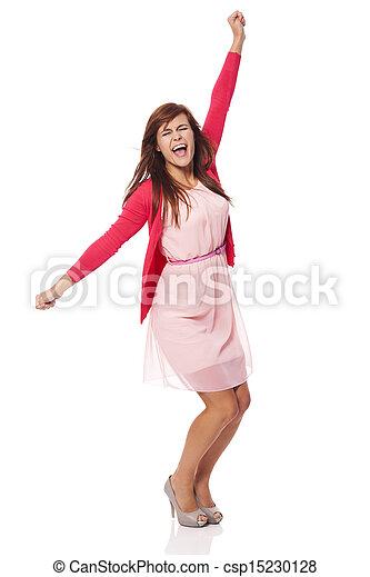 kobieta, radość, młody, wrzaskliwy, piękny - csp15230128