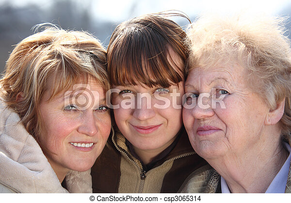 kobiety, generacje, portret, jeden, rodzina, trzy - csp3065314