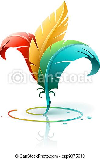 kolor, pierze, pojęcie, sztuka, twórczy - csp9075613