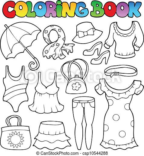 kolorowanie, temat, 2, książka, odzież - csp10544288