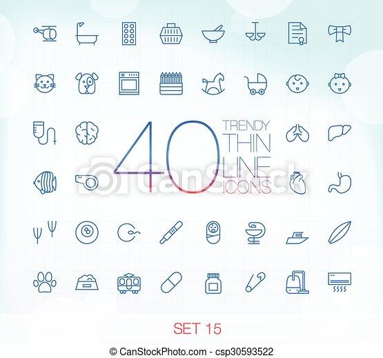 komplet, 15, ikony, 40, cienki, modny - csp30593522