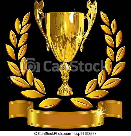 komplet, filiżanka, powodzenie, złoty, wieniec, zwycięski, wektor, czarne tło, laur, błyszczący, wstążka - csp11193877