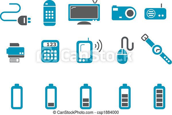 komplet, ikona, elektronowy - csp1884000