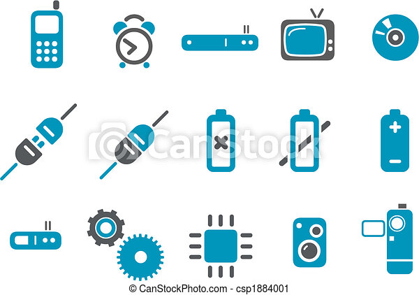 komplet, ikona, elektronowy - csp1884001