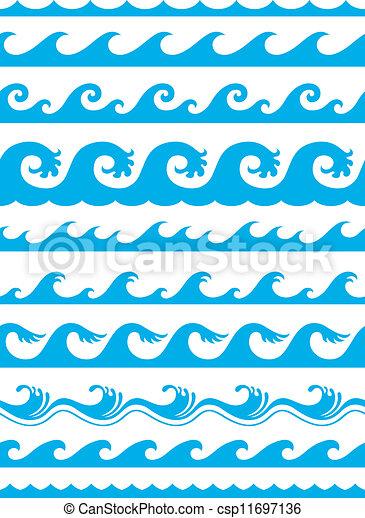 komplet, seamless, falistość oceanu - csp11697136