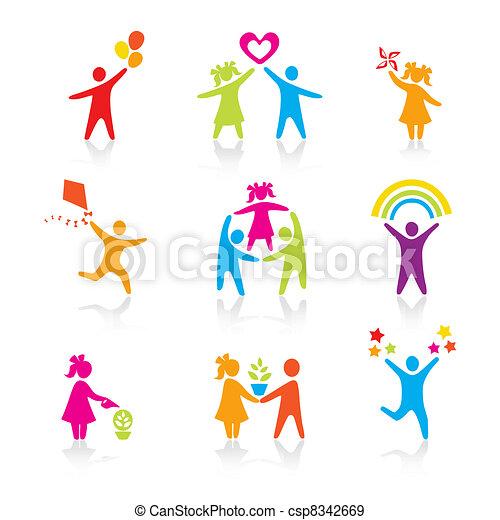 komplet, sylwetka, ludzie, koźlę, człowiek, ikony, -, symbol., chłopiec, kobieta, dziewczyna, rodzice, ojciec, vector., family., macierz, dziecko - csp8342669
