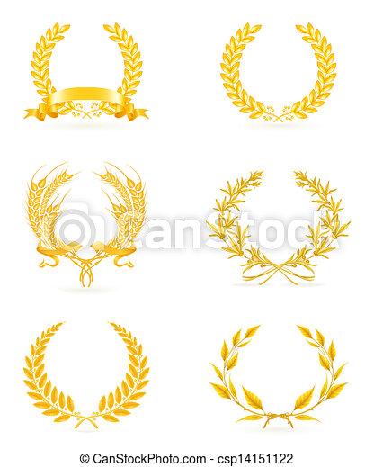 komplet, złoty, wieniec, eps10 - csp14151122