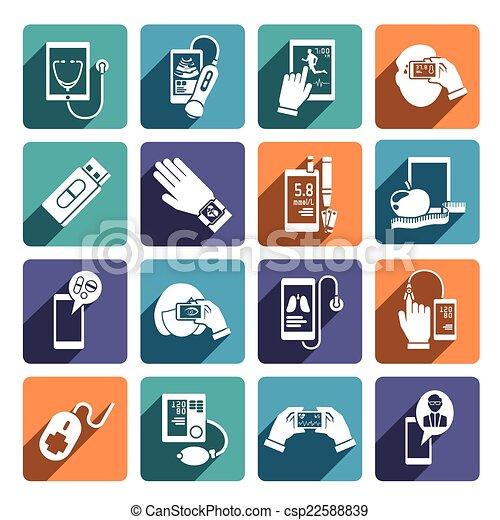 komplet, zdrowie, cyfrowy, ikony - csp22588839