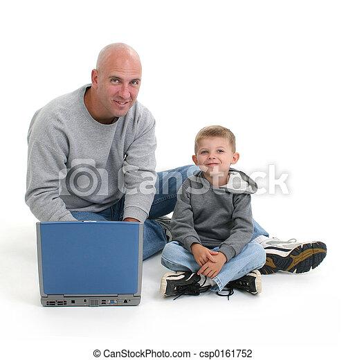 komputer, ojciec, syn - csp0161752