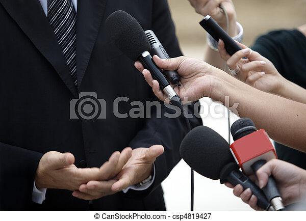 konferencja, handlowy, dziennikarstwo, mikrofony, spotkanie - csp4819427