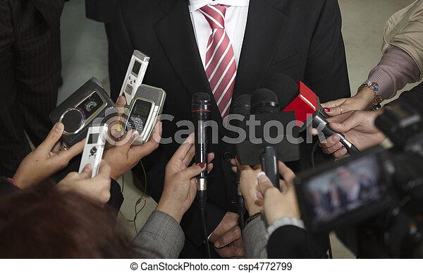 konferencja, handlowy, dziennikarstwo, mikrofony, spotkanie - csp4772799