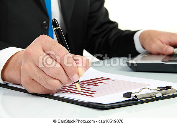 kontrola, diagram, zameldować, finansowy, ręka - csp10519070