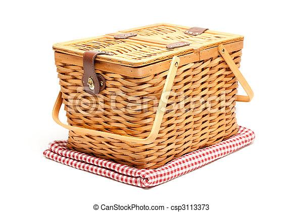 kosz, fałdowy, koc, piknik, odizolowany - csp3113373