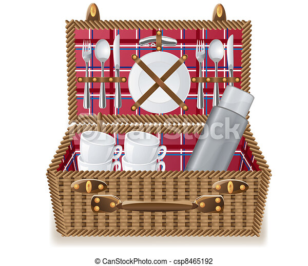 kosz, zastawa stołowa, piknik - csp8465192