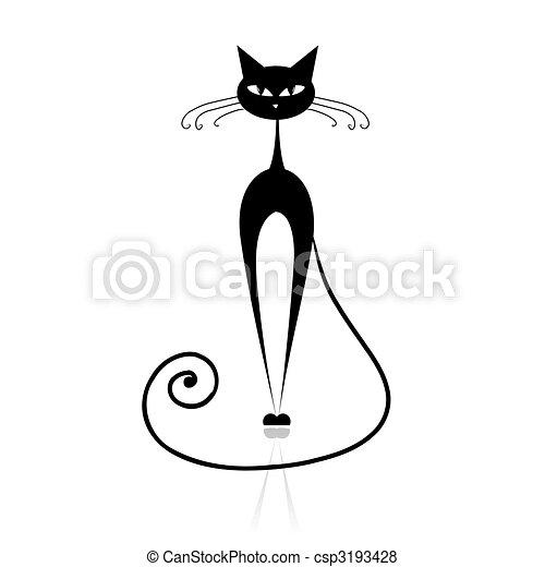 kot, czarnoskóry, twój, projektować, sylwetka - csp3193428