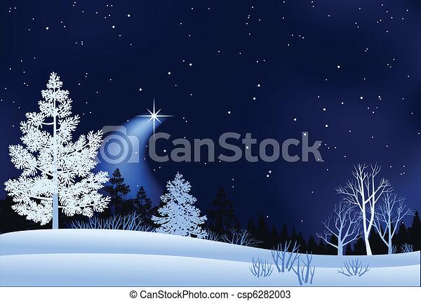 krajobraz, zima, ilustracja - csp6282003