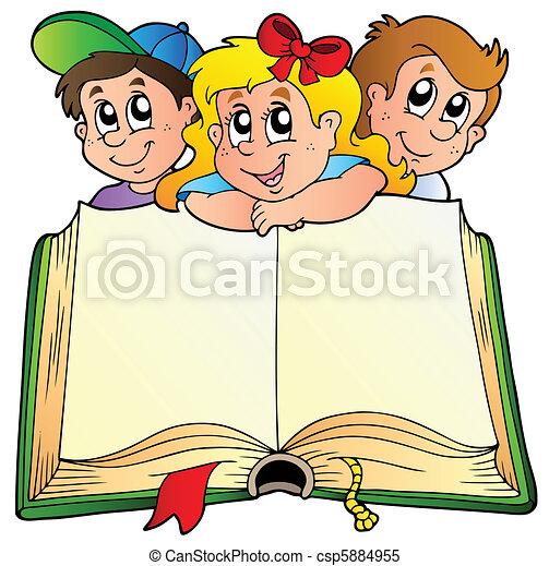 książka, dzieci, otworzony, trzy - csp5884955