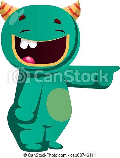 ktoś, potwór, ilustracja, wektor, zielony, śmiech - csp68746111