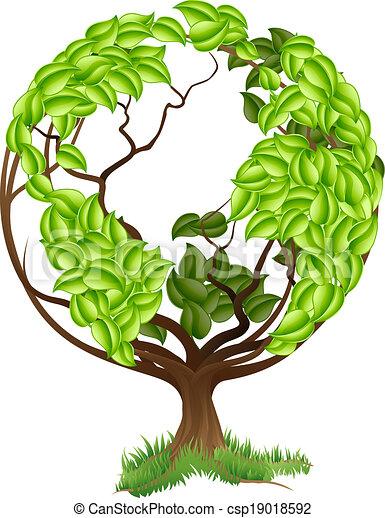 kula, drzewo, zielony, concep, ziemia, świat - csp19018592