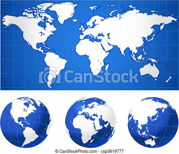 kule, światowa mapa - csp3619777
