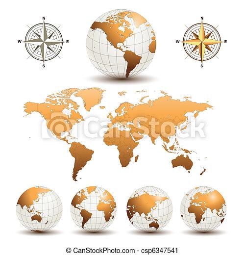 kule, ziemia, światowa mapa - csp6347541