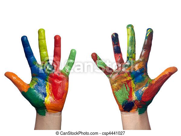 kunszt, ręka, sztuka, dziecko, barwiony, kolor - csp4441027