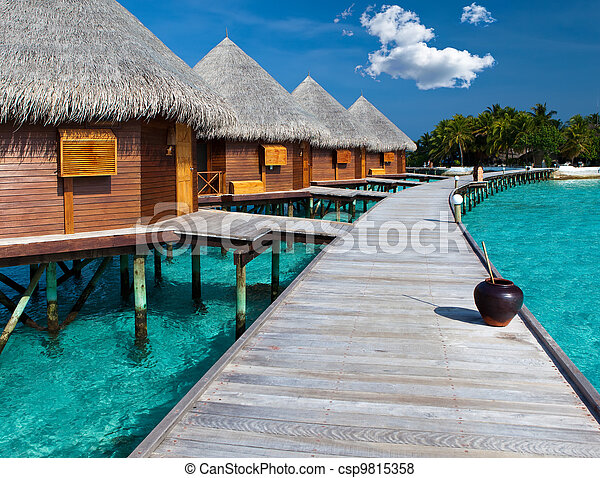 kupy, wyspa, maldives., ocean, willa, woda - csp9815358