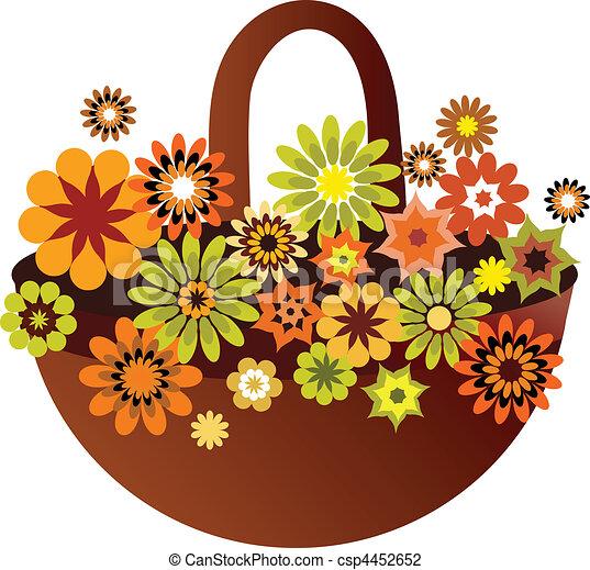 kwiat, karta, wiosna, ilustracja, wektor, kosz - csp4452652