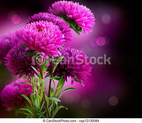 kwiaty, sztuka, aster, projektować, jesień - csp13130084