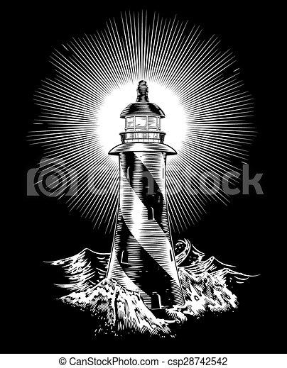latarnia morska, fale, szorstki, trzęsie się - csp28742542