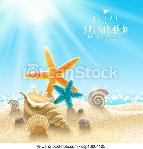 lato, ilustracja, ferie - csp13064105