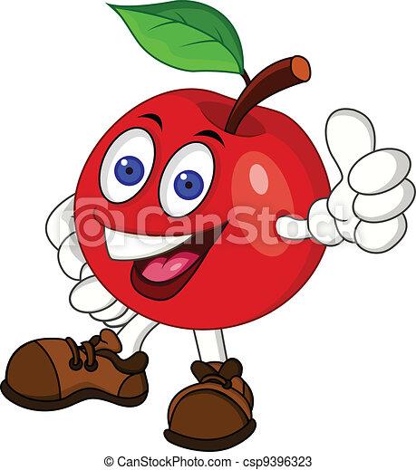 litera, jabłko, czerwony, rysunek - csp9396323