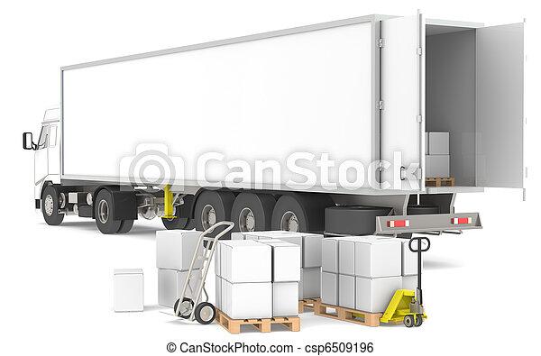 logisty, distribution., series., trucks., błękitny, żółty, kabiny, część, sienniki, magazyn, otwarty, maruder - csp6509196