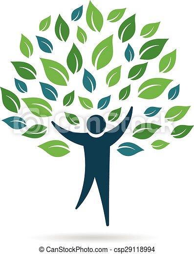 logo, jednorazowy, drzewo, ludzie - csp29118994