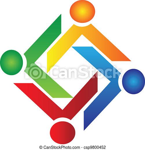 logo, miłosierdzie, wektor, teamwork, ludzie - csp9800452