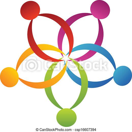 logo, poparcie, kwiat, teamwork - csp16607394